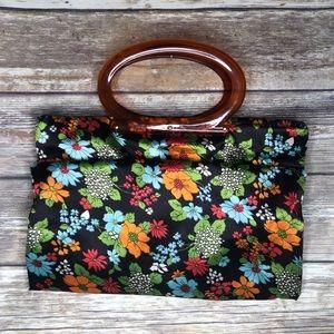 Vintage lady's pride floral handbag tote bag purse